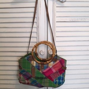 Relic women's purse with bamboo handles & strap